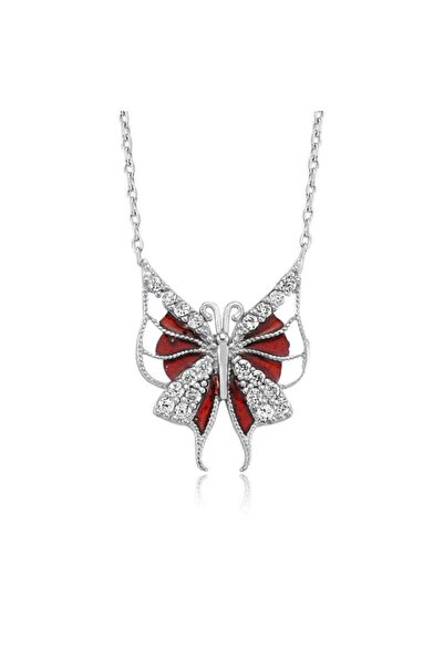 Gumush Gümüş Kırmızı Kelebek Bayan Kolye
