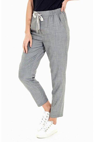 İKİLER Kadın Gri Beli Lastikli Cepli Pantolon