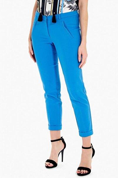 İKİLER Kadın Lacivert Fleto Cepli Double Paçalı Pantolon