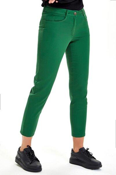 İKİLER Kadın Yeşil Beş Cepli Parça Boya Pantolon 201-3501