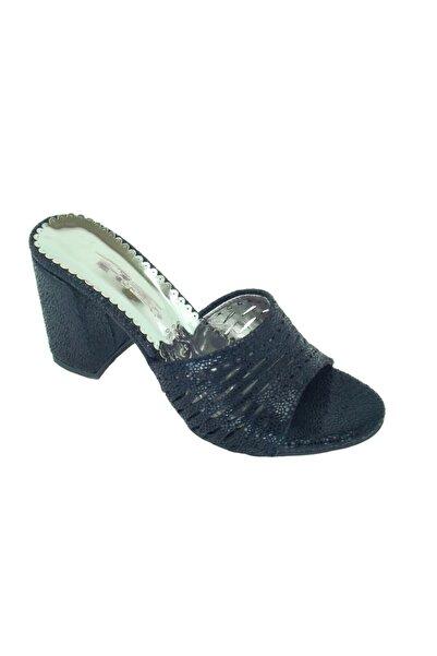 PUNTO 441012 Simli Siyah Kadın Kalın Topuk Günlük Terlik