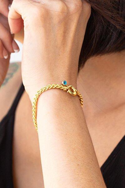 Bayar Gold Kadın Sarı Gemici Kilitli Örgü Bileklik