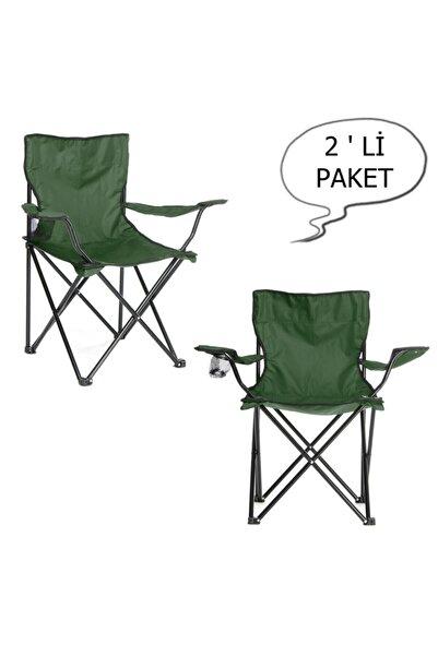 Yekta Home Çantalı Kamp Sandalyesi Balıkçı Plaj Piknik Koltuk Yeşil 2 Adet