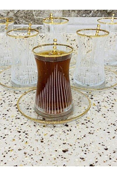 Paşabahçe Heybeli Eyfel Gold 18 Parça Çay Seti 6 Kişilik