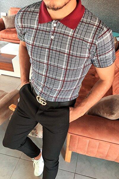 Terapi Men Erkek Kareli Polo Yaka T-shirt 20y-3400711 Gri