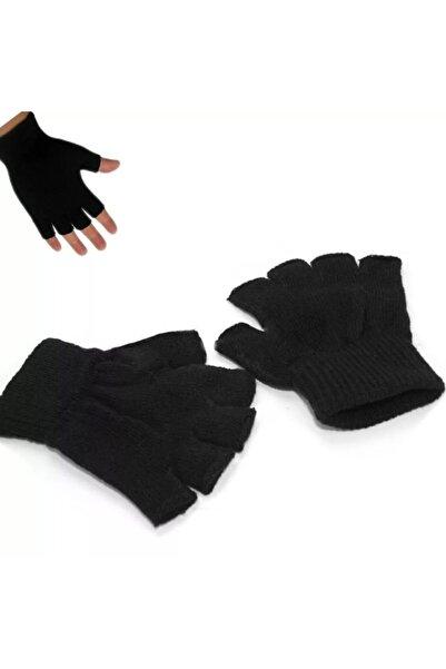 PAKER GİYİM Siyah Unisex Parmaksız Kesik Yarım Parmak Kışlık Örme Triko Eldiven
