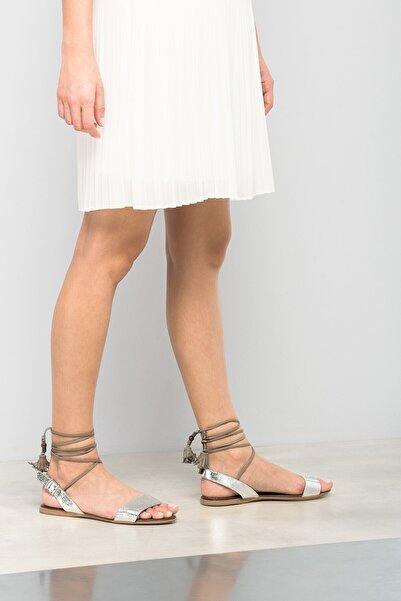 İnci Hakiki Deri Gümüş Kadın Sandalet 120120267010