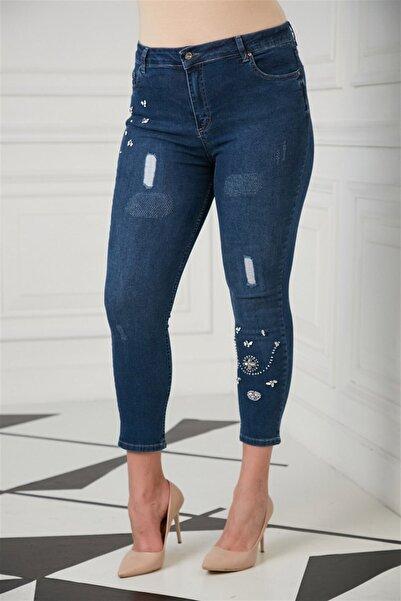 RMG Taş Detaylı Büyük Beden Kim Mavii Pantolon