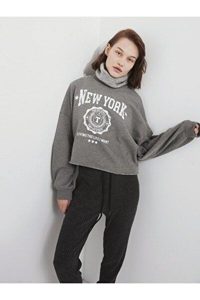 Twist Slogan Baskılı Sweatshirt