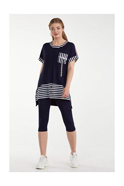Sementa Kadın Çizgi Detaylı Tunik Takım - Lacivert