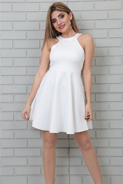 lovebox Esnek Scuba Kumaş Yuvarlak Yaka Beyaz Abiye Elbise