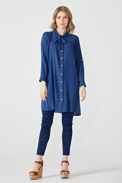 Sementa Yakası Bağlamalı Piliseli Kadın Tunik - Mavi