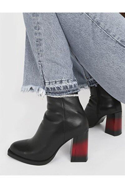 İLVİ Cole Hakiki Deri Kadın Siyah Topuklu Bot