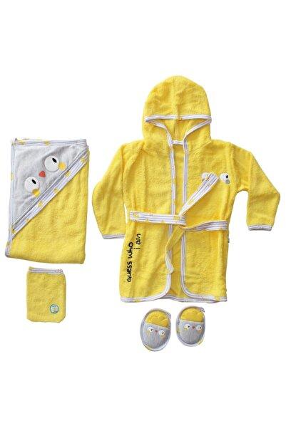 bebegen Sarı Gri Civciv Baskılı 5 Parça Havlu Bornoz Set