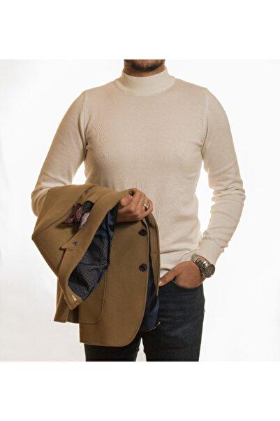 COMİENZO Yün Karışım 2 Düğme Kırlangıç Yaka Cotton Tek Ceket