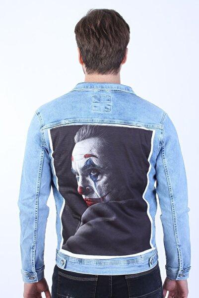 LTC Jeans Joker Baskılı Erkek Buz Mavi Yıkamalı Kot Ceket