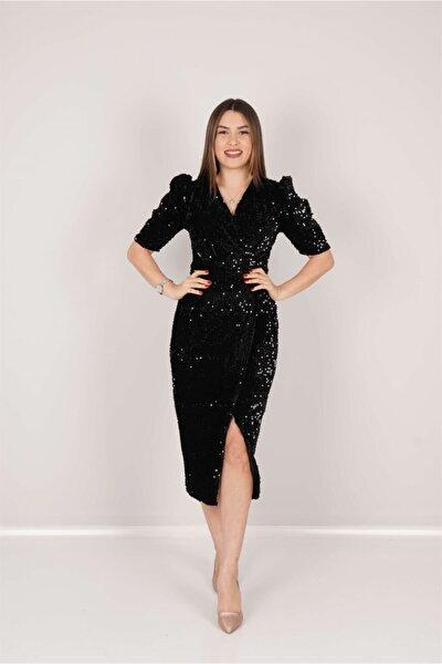giyimmasalı Kadife Payet Ceket Elbise - Siyah