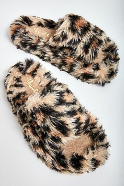 Bambi Beyaz Leopar Kadın Ev Terliği M0518000191
