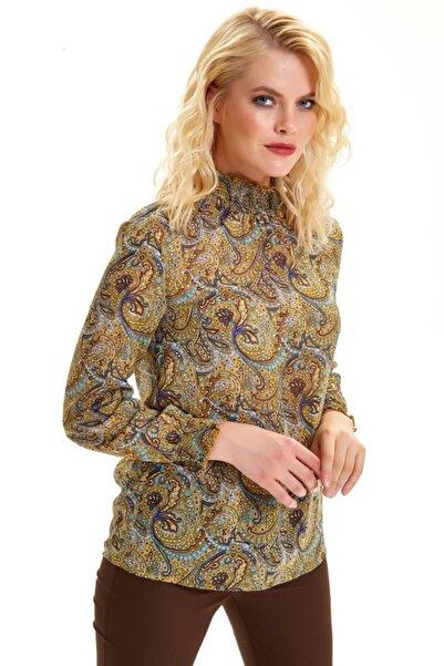 İKİLER Kol Ve Yakası Lastikli Şal Desen Şifon Bluz 201-3007