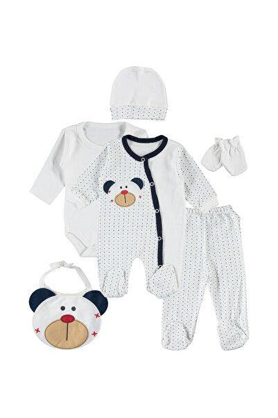 Ponpon Baby Unisex Bebek Beyaz Ayıcıklı - 6 Parça Penye Yeni Doğan Seti