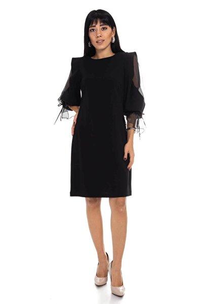 AYHAN 60627 Kolları Organze Tül Krep Elbise