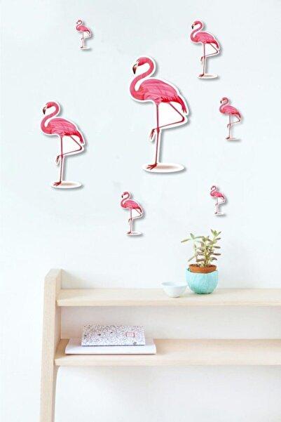 CajuArt 7 Parça Flamingo Desenli Ahşap Duvar Dekoru Duvar Sticker