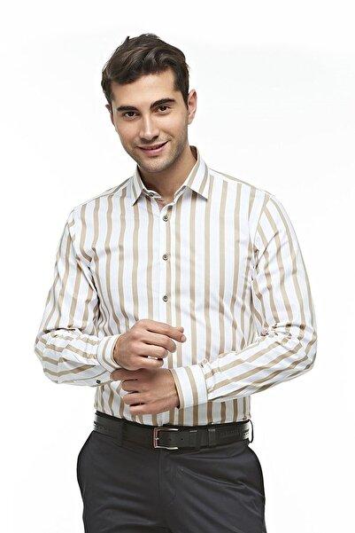 Ottomoda Uzun Kollu Çizgili Erkek Gömlek Kahve-beyaz
