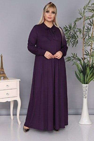 Kadın Büyük Beden Mürdüm Renk Kravat Yaka Detaylı Viskon Elbise