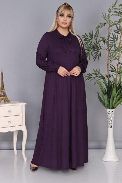 Şirin Butik Kadın Büyük Beden Mürdüm Renk Kravat Yaka Detaylı Viskon Elbise