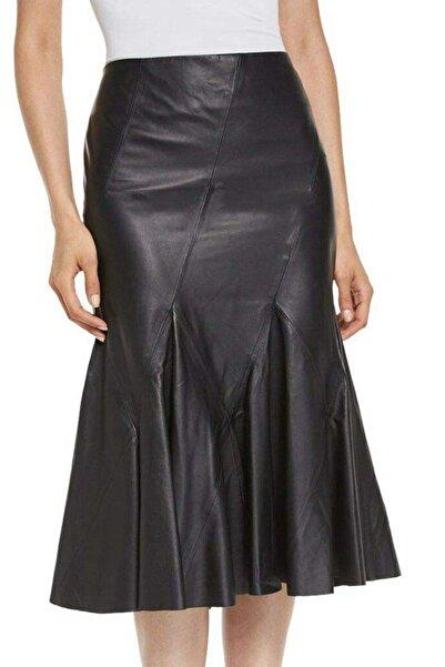 Tannery Leather Kadın Asimetrik Çan Deri Etek Siyah T-107