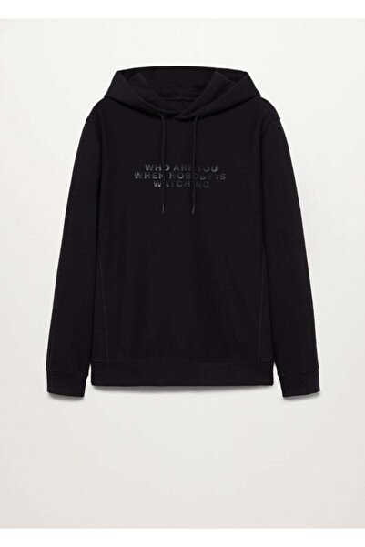 MANGO Man Kadın Siyah Yazılı Penye Sweatshirt