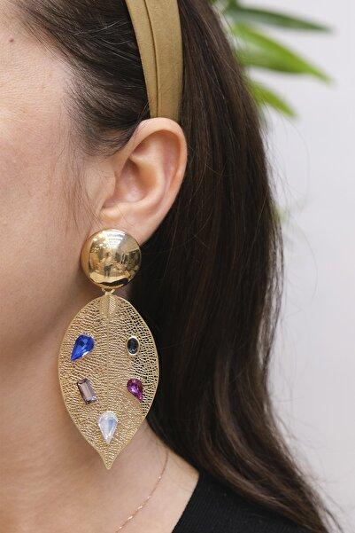 Marjin Kadın Altın Renkli  Yaprak Görünümlü Küpe