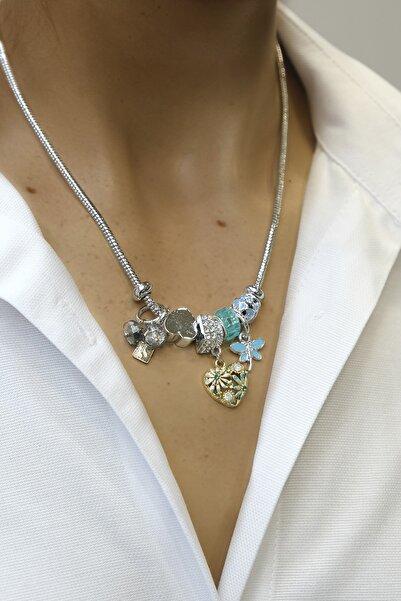 Marjin Kadın Mavi Taşlı Kalp Figürlü Gümüş Renkli Kolyemavi