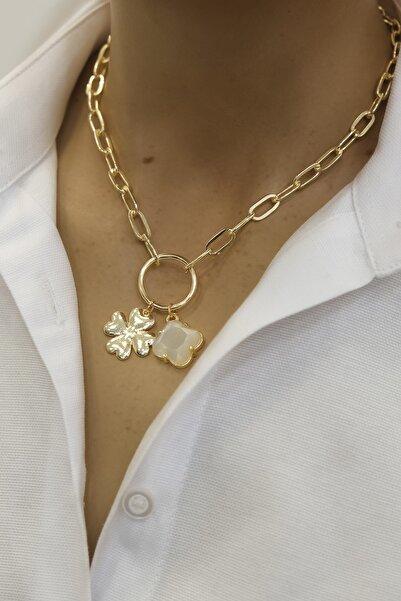 Marjin Kadın Beyaz Taşlı Yonca Figürlü Altın Renkli Kolyebeyaz