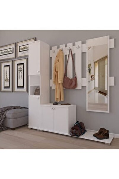 Aynalı Çekmeceli 4 Kapaklı Portmanto Takımı Askılık Vestiyer Beyaz