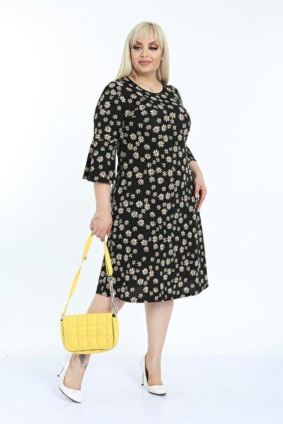 1fazlası Kadın Büyük Beden Sarı Siyah Volan Kol Krep Kumaş Elbise