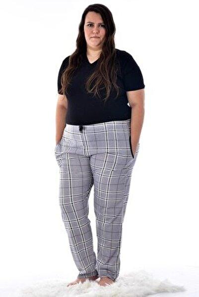 Kadın Gri 424-12 Büyük Beden Desenli Cepli Tek Pijama Altı