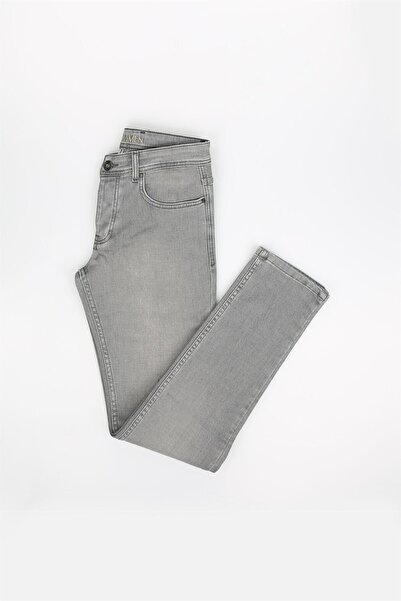 Jakamen Gri Slim Fit Erkek Kot Pantolon