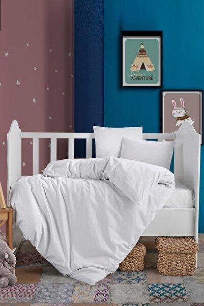 VAROL Bebek Pamuk Saten Nevresim Takımı Beyaz