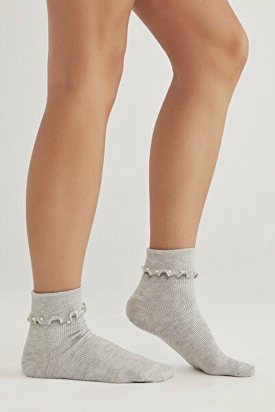 Penti Açık Gri Melanj Pearly Soket Çorap