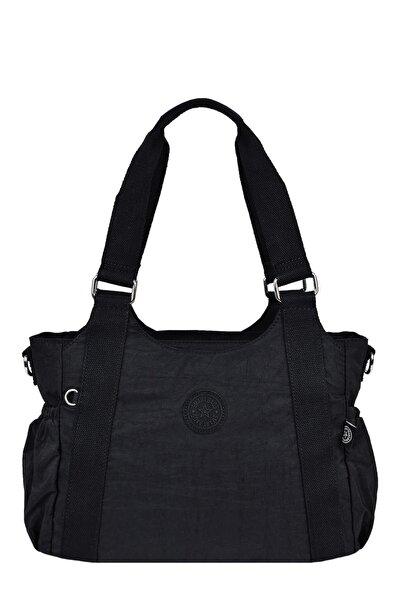 SMART BAGS Krinkıl Kumaş Siyah Bayan Omuz Çantası 1163