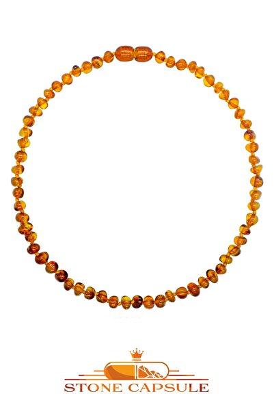 STONE CAPSULE Karamel (Cognac) Renk Parlak Barok Baltık Kehribar Bebek Diş Kolyesi (33 cm) (Unisex)