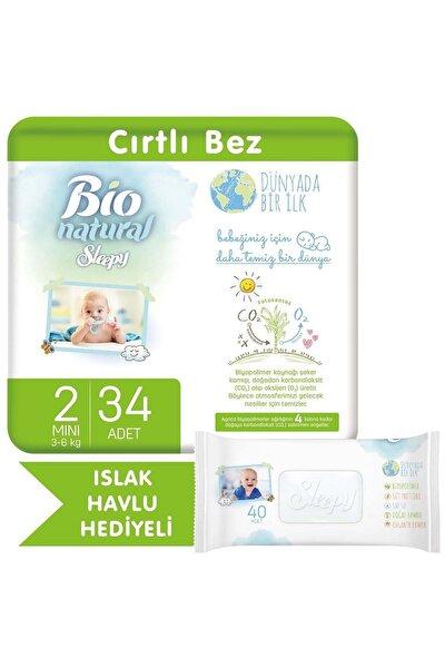 Sleepy Bio Natural Bebek Bezi 2 Numara Mini 34 Adet + Bio Natural Islak Havlu Hediyeli
