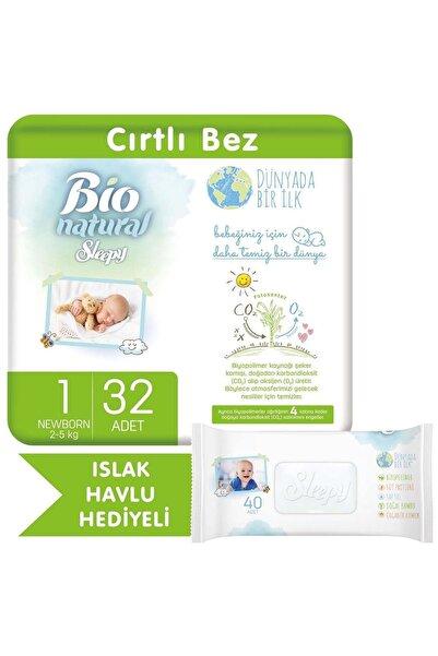 Sleepy Bio Natural Bebek Bezi 1 Numara Yenidoğan 32 Adet + Bio Natural Islak Havlu Hediyeli