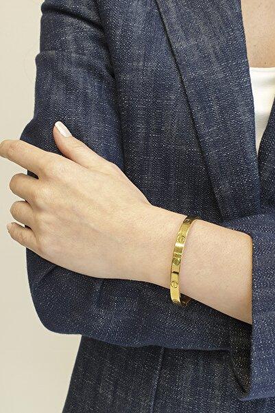 Marjin Kadın Altın Renkli Paslanmaz Çelik Model Kelepçe Bileklik