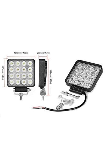 İthal Off Road Beyaz Işık Sis Farı Lambası 16 Led Kare 12-24v 48 Watt