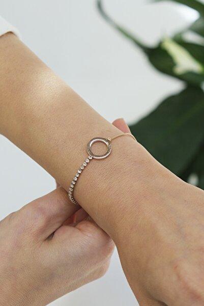 Marjin Kadın Zincirli Halka Model Paslanmaz Çelik Rose Kaplama Ayarlı Bileklik