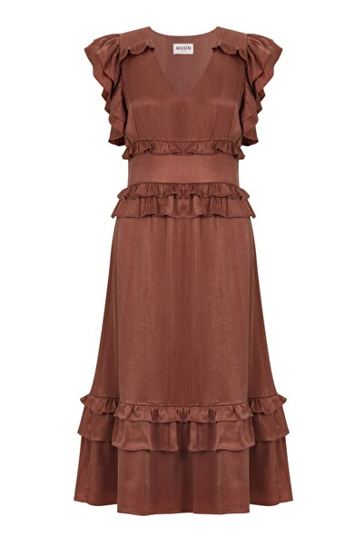 Muun Bronz Volan Detaylı Elbise