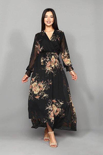 Modakapimda Siyah Çiçekli Şifon Uzun Büyük Beden Elbise