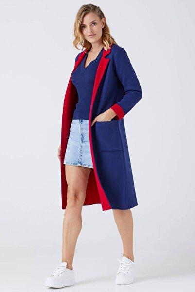 Sementa Kadın Iki Renkli Cepli Uzun Triko Hırka - Lacivert - Kırmızı